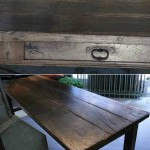 sold159 18c French oak refectory table with three drawers