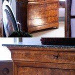 sold38 Louis Philippe commode in burr elm