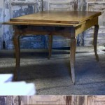 sold53 19c French extending farm table in blonde fruitwood