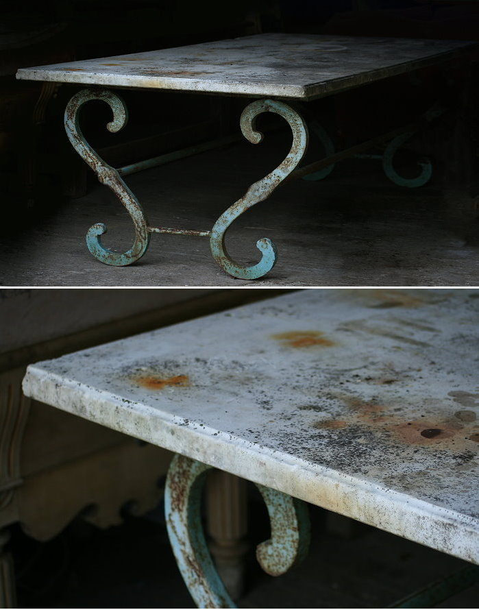 sold05 large marble top table with metal base - lantiques
